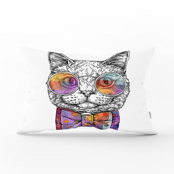 Kedi Ayak İzli Modern Dikdörtgen Yastık Kırlent Kılıfı Realhomes