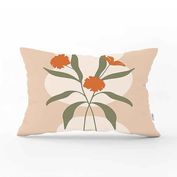 Soft Renkli Onedraw Çizimli Çiçek Desenli Dikdörtgen Yastık Kırlent Kılıfı Realhomes