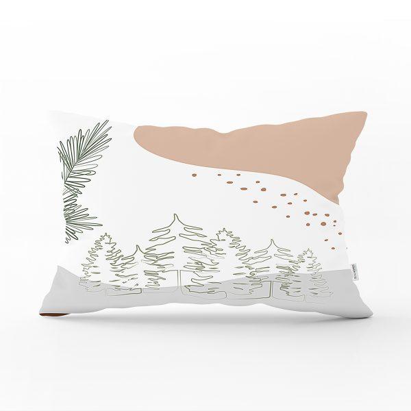 Beyaz Zeminde Onedraw Çizimli Yaprak Desenli Dijital Baskılı Modern Dikdörtgen Yastık Kılıfı Realhomes