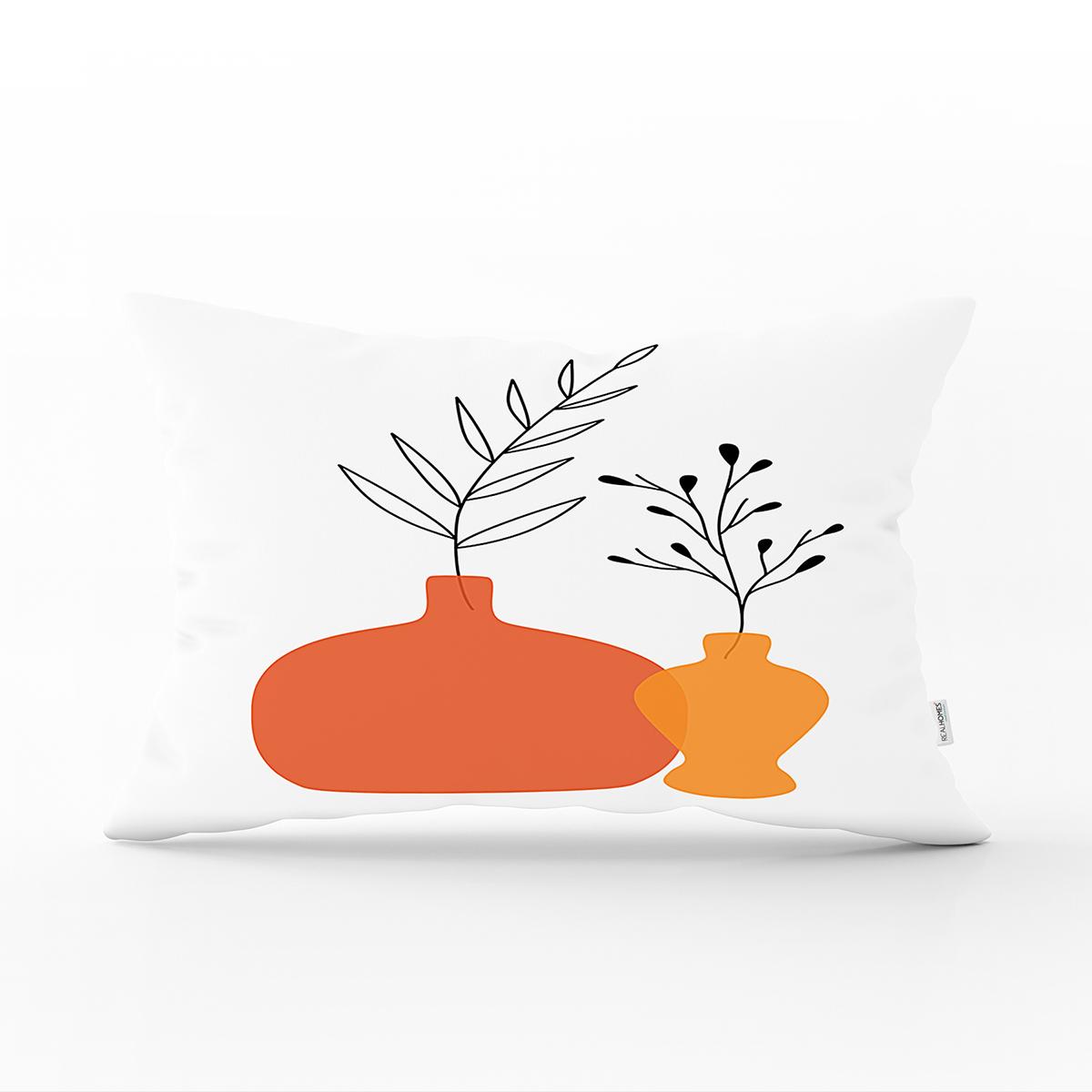 Beyaz Zeminli Pastel Renkli Vazolar Dijital Baskılı Modern Dikdörtgen Yastık Kırlent Kılıfı Realhomes