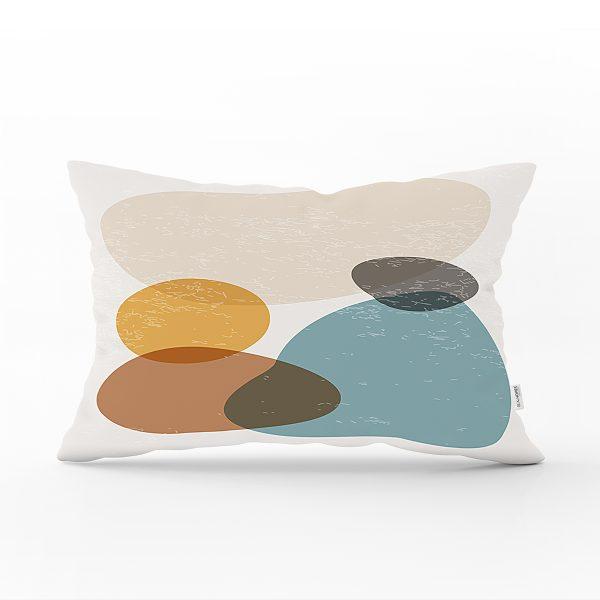 Renkli Zemin Üzerinde Onedraw Çizimli Oval Desenli Modern Dikdörtgen Yastık Kırlent Kılıfı Realhomes