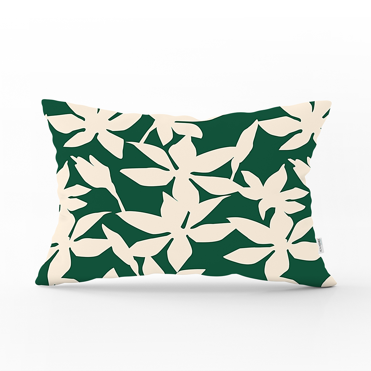 Yeşil Zeminde Yaprak Desenli Dijital Baskılı Modern Dikdörtgen Yastık Kırlent Kılıfı Realhomes