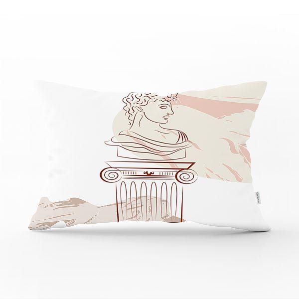 Beyaz Zeminde Onedraw Çizimli Antik Desenli Dijital Baskılı Modern Dikdörtgen Yastık Kılıfı Realhomes