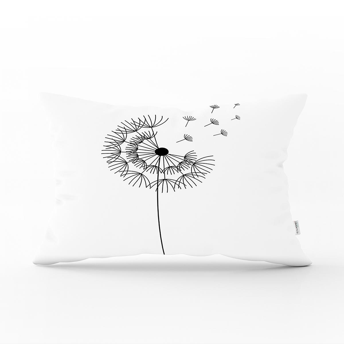 Beyaz Zeminde Onedraw Çizimli Çiçek Dijital Baskılı Modern Dikdörtgen Yastık Kırlent Kılıfı Realhomes