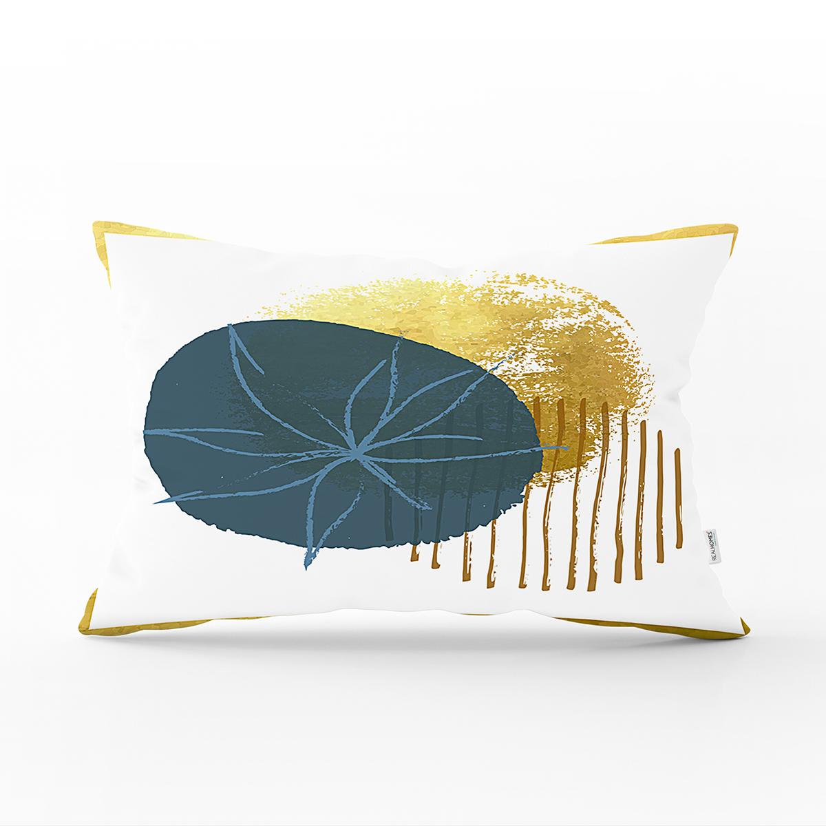 Beyaz Zeminde Gold Cerceve Icınde Oval Desenli Modern Dikdörtgen Yastık Kırlent Kılıfı Realhomes