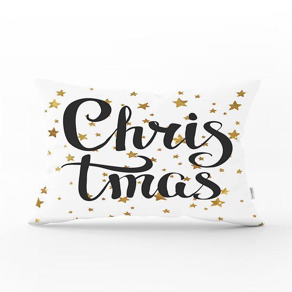 Beyaz Zemin Üzerinde Gold Renkli Yıldız Desenli Christmas Dikdörtgen Yastık Kırlent Kılıfı Realhomes