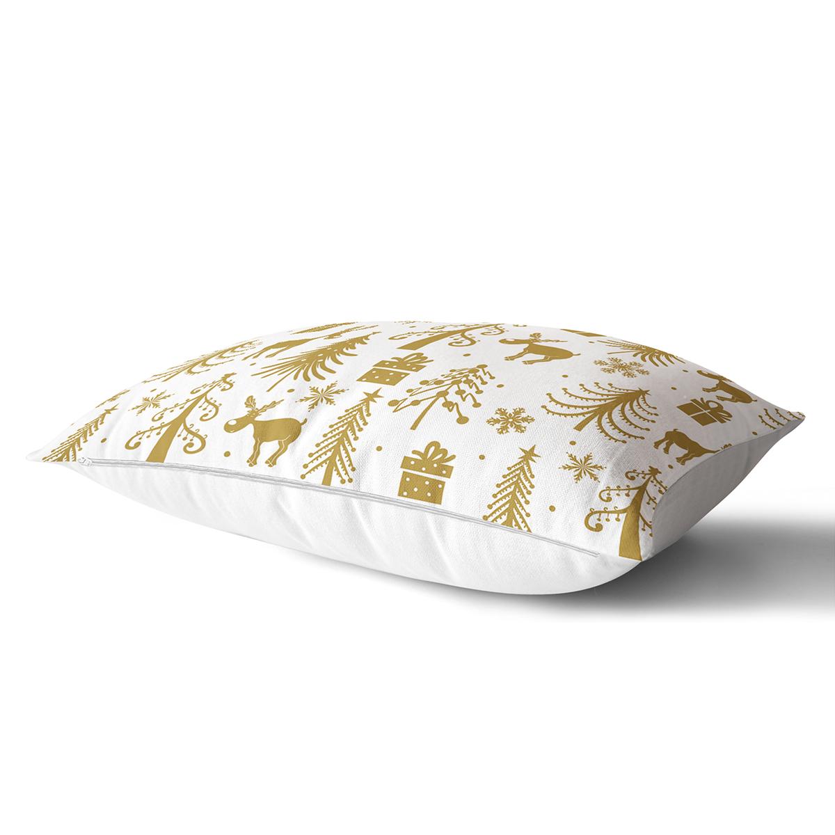 Beyaz Zemin Üzerinde Gold Renkli Yılbaşı Temalı Modern Dikdörtgen Yastık Kırlent Kılıfı Realhomes
