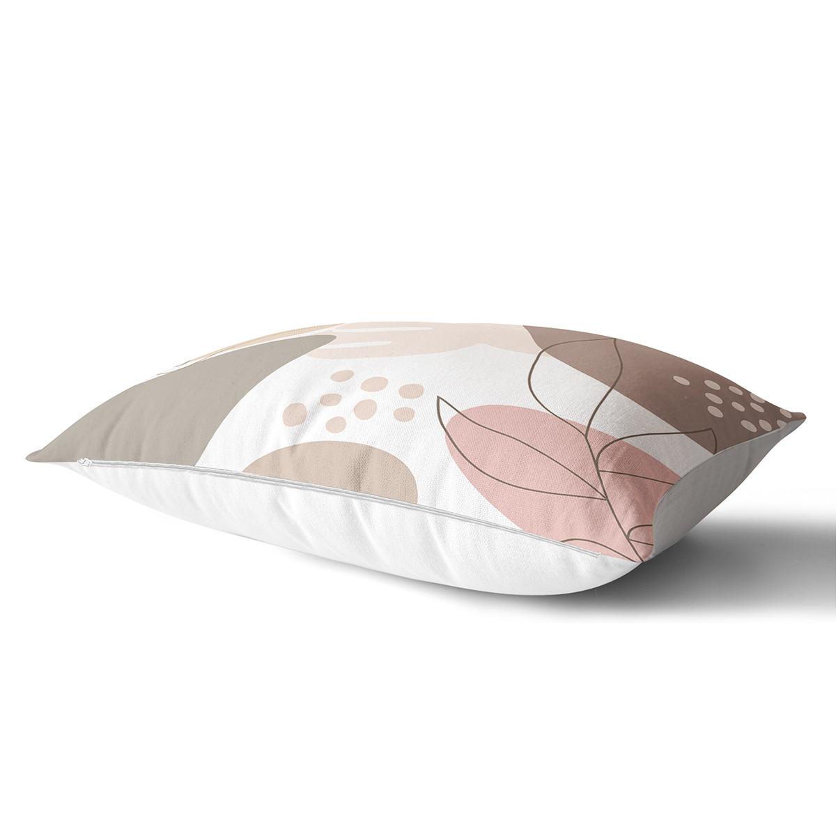 Beyaz Zemin Üzerinde Pastel Renkli Yaprak Desenli Modern Dikdörtgen Yastık Kırlent Kılıfı Realhomes