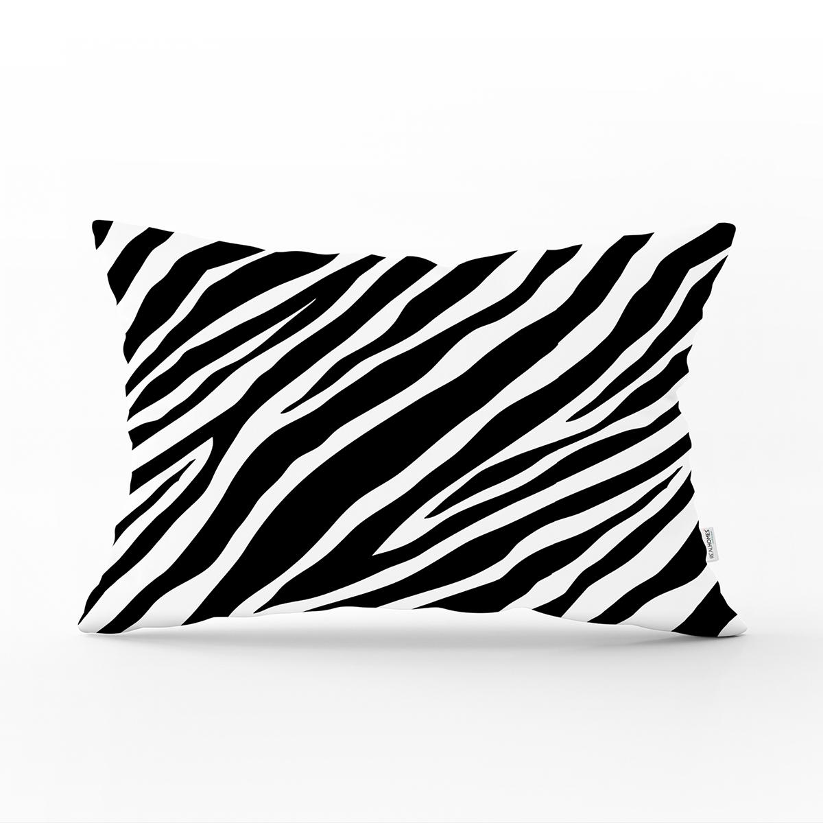 Beyaz Zemin Üzerinde Zebra Desenli Dijital Baskılı Modern Dikdörtgen Yastık Kırlent Kılıfı Realhomes