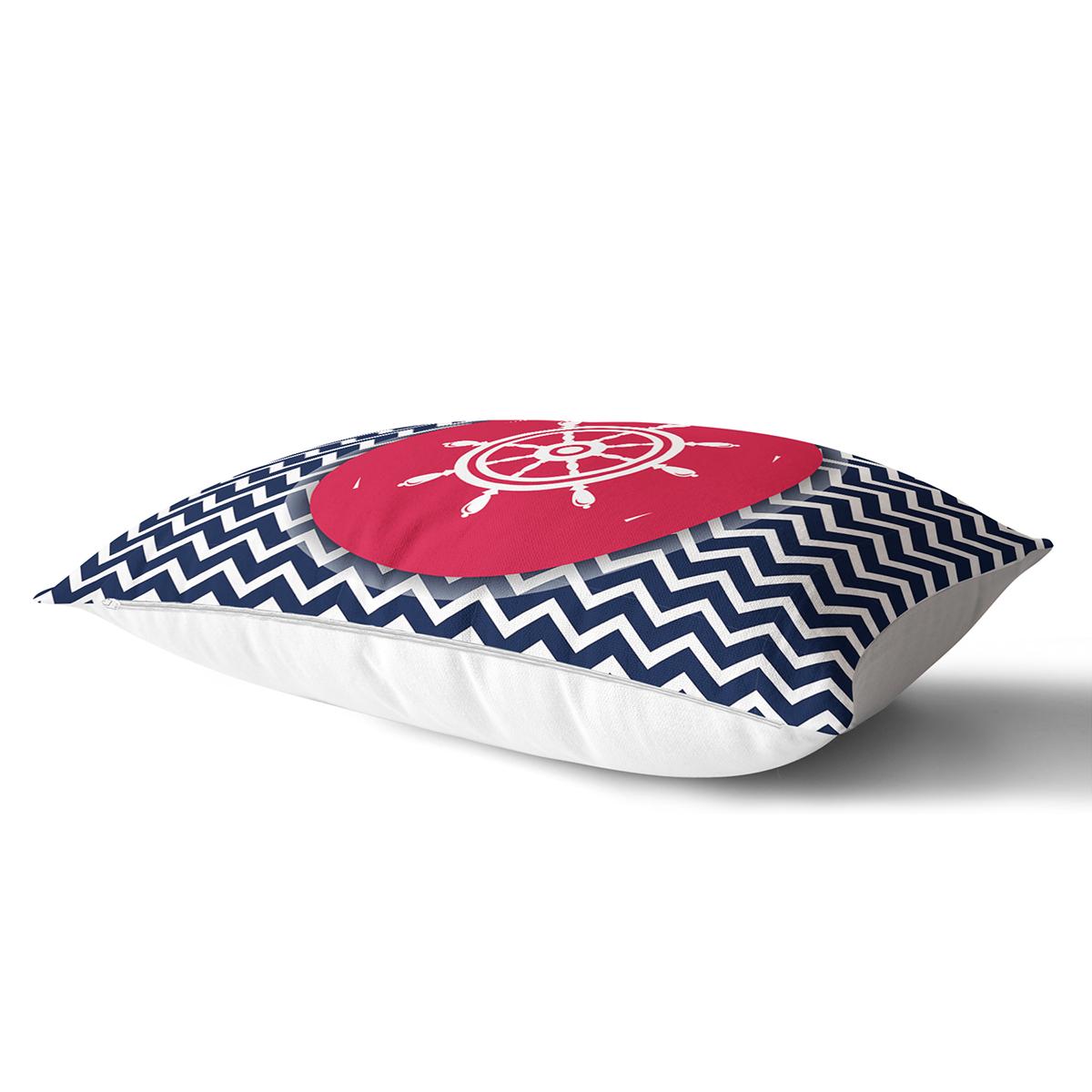 Renkli Zemin Üzerinde Geometrik Zigzag Desenli Çapa Dikdörtgen Yastık Kırlent Kılıfı Realhomes