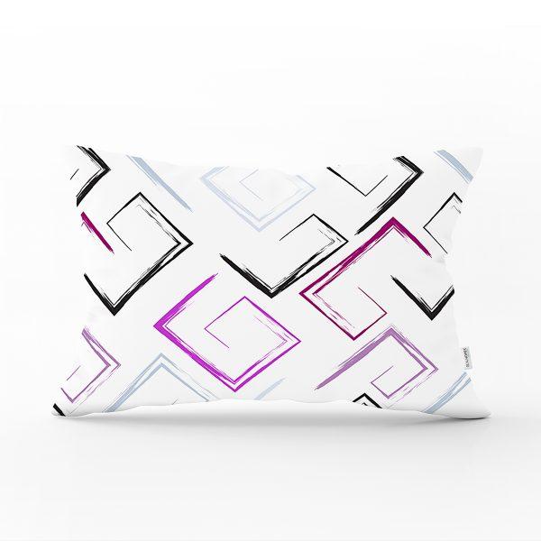 Beyaz Zeminli Renkli Modern Desenli Dijital Baskılı Modern Dikdörtgen Yastık Kırlent Kılıfı Realhomes
