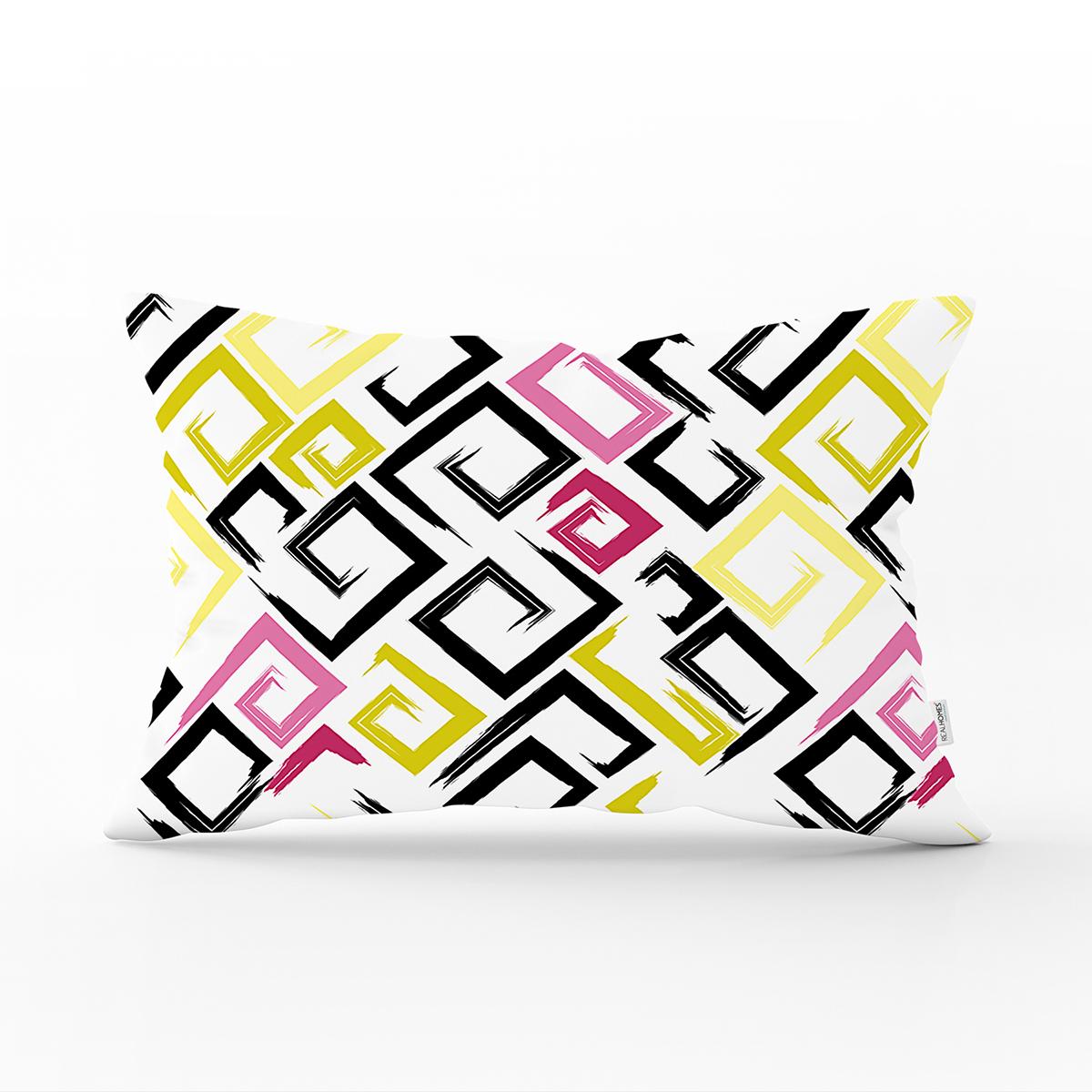 Beyaz Zemin Üzerinde Renkli Modern Geometrik Desenli Dikdörtgen Yastık Kırlent Kılıfı Realhomes