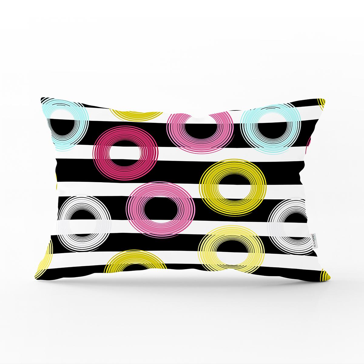 Beyaz Zemin Üzerinde Siyah Çizgili Renkli Geometrik Desenli Dikdörtgen Yastık Kırlent Kılıfı Realhomes