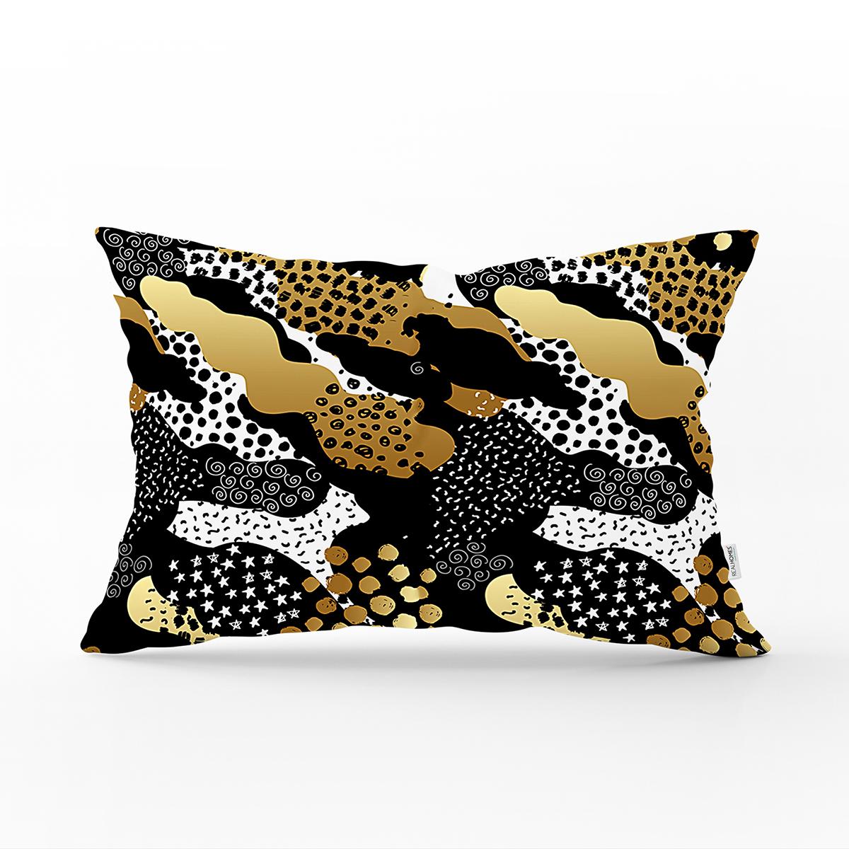 Siyah Zemin Üzerinde Gold Detaylı Modern Desenli Modern Dikdörtgen Yastık Kırlent Kılıfı Realhomes