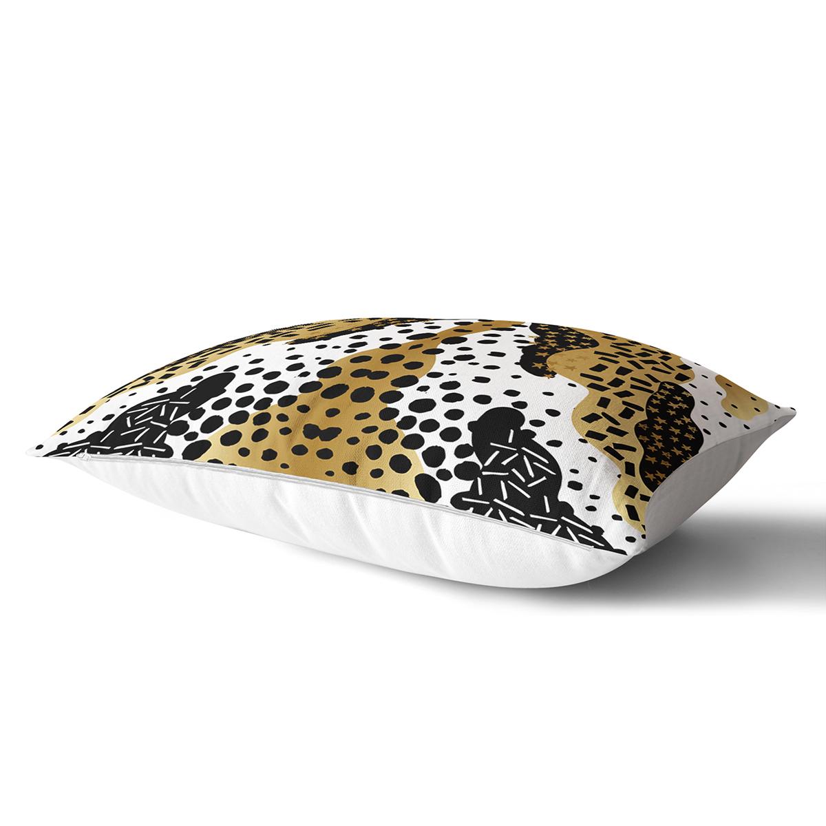 Beyaz Zemin Üzerinde Gold Detaylı Modern Desenli Modern Dikdörtgen Yastık Kırlent Kılıfı Realhomes