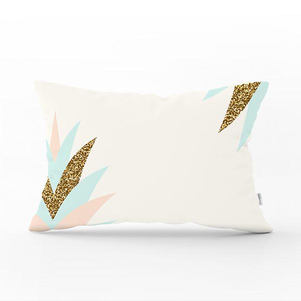 Renkli Üzerinde Gold Detaylı Modern Yaprak Desenli Modern Dikdörtgen Yastık Kırlent Kılıfı Realhomes