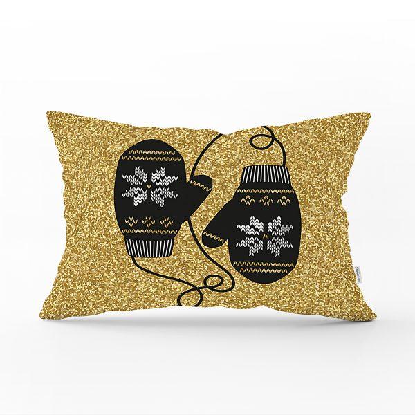 Gold Zemin Üzerinde Modern Desen İşlemeli Eldiven Modern Dikdörtgen Yastık Kırlent Kılıfı Realhomes