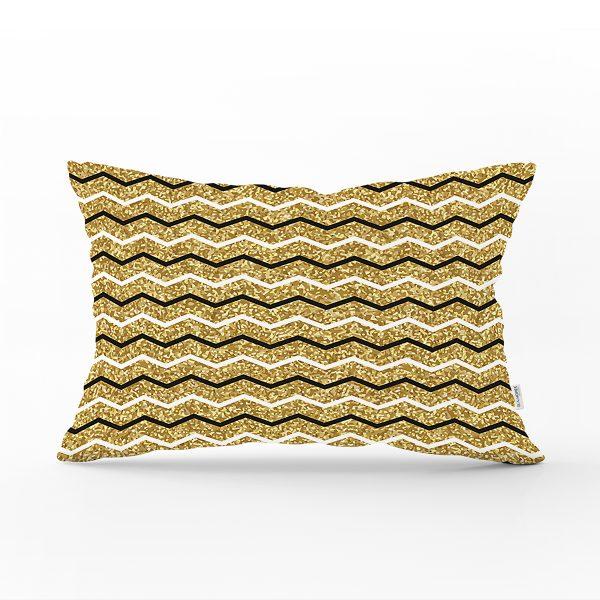 Gold Zemin Üzerinde Modern Renkli Zigzag Desenli Modern Dikdörtgen Yastık Kırlent Kılıfı Realhomes
