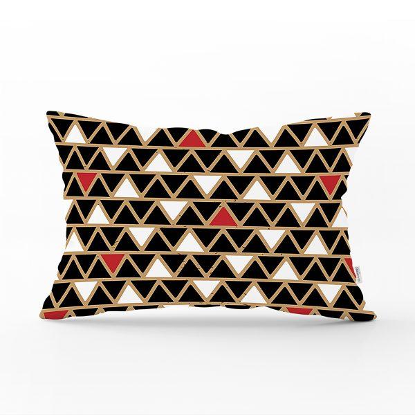 Siyah Zemin Üzerinde Gold Renkli Geometrik Desenli Modern Dikdörtgen Yastık Kırlent Kılıfı Realhomes