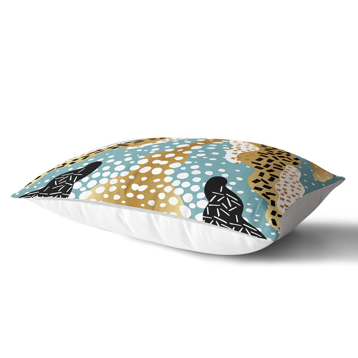 Renkli Zemin Üzerinde Modern Desenli Dijital Baskılı Modern Dikdörtgen Yastık Kırlent Kılıfı Realhomes