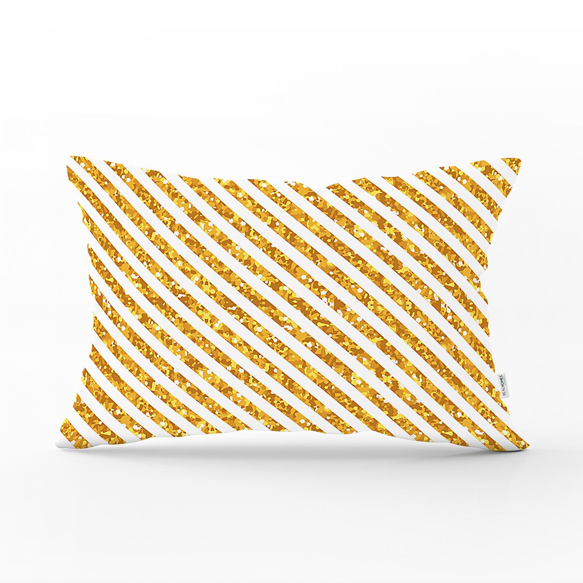 Beyaz Zemin Üzerinde Gold Renkli Yatay Çizgili Modern Dikdörtgen Yastık Kırlent Kılıfı Realhomes