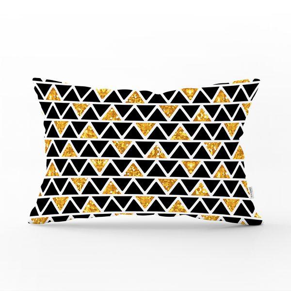 Siyah Zemin Üzerinde Gold Detaylı Geometrik Desenli Dikdörtgen Yastık Kırlent Kılıfı Realhomes