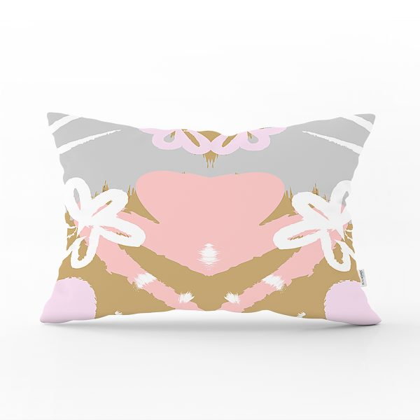 Renkli Zemin Üzerinde Soyut Çizimli Çiçek Desenli Modern Dikdörtgen Yastık Kırlent Kılıfı Realhomes