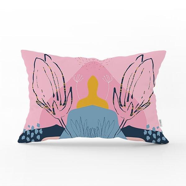 Renkli Zemin Üzerinde Pastel Desenli Çiçek Motifli Modern Dikdörtgen Yastık Kırlent Kılıfı Realhomes