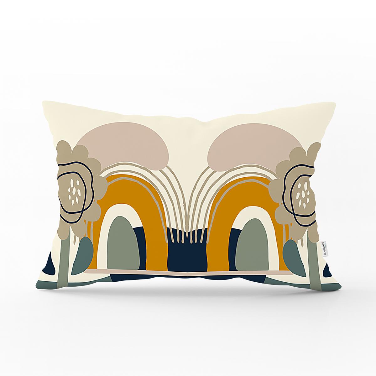 Renkli Zemin Üzerinde Yaprak Desenli Dijital Baskılı Modern Dikdörtgen Yastık Kırlent Kılıfı Realhomes