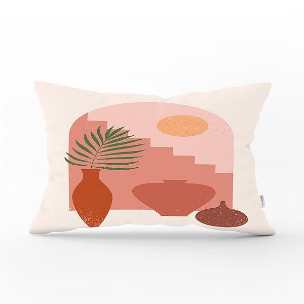 Pastel Zeminli Renkli Meyva Desenli Dijital Baskılı Modern Dikdörtgen Yastık Kırlent Kılıfı Realhomes