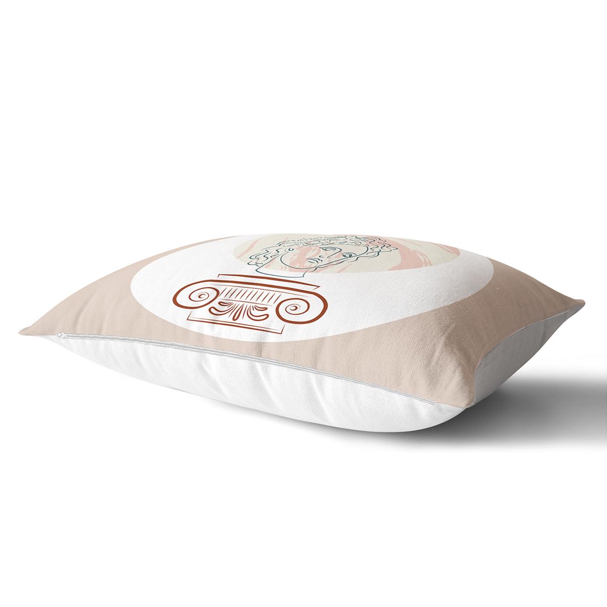 Pastel Zemin Üzerinde Yaprak Desenli Dijital Baskılı Modern Dikdörtgen Yastık Kırlent Kılıfı Realhomes