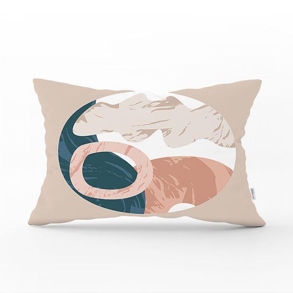 Pastel Zeminli Geometrik Desenli Dijital Baskılı Modern Dikdörtgen Yastık Kırlent Kılıfı Realhomes