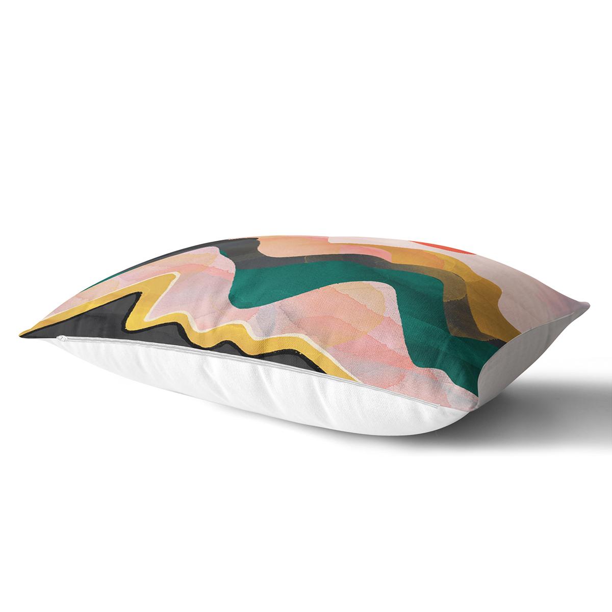 Renkli Zeminli Geometrik Desenli Dijital Baskılı Modern Dikdörtgen Yastık Kırlent Kılıfı Realhomes