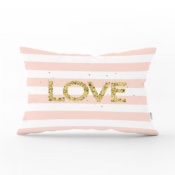 Beyaz Zemin Üzerinde Renkli Çizgili Gold Detaylı Love Yazılı Dikdörtgen Yastık Kırlent Kılıfı Realhomes