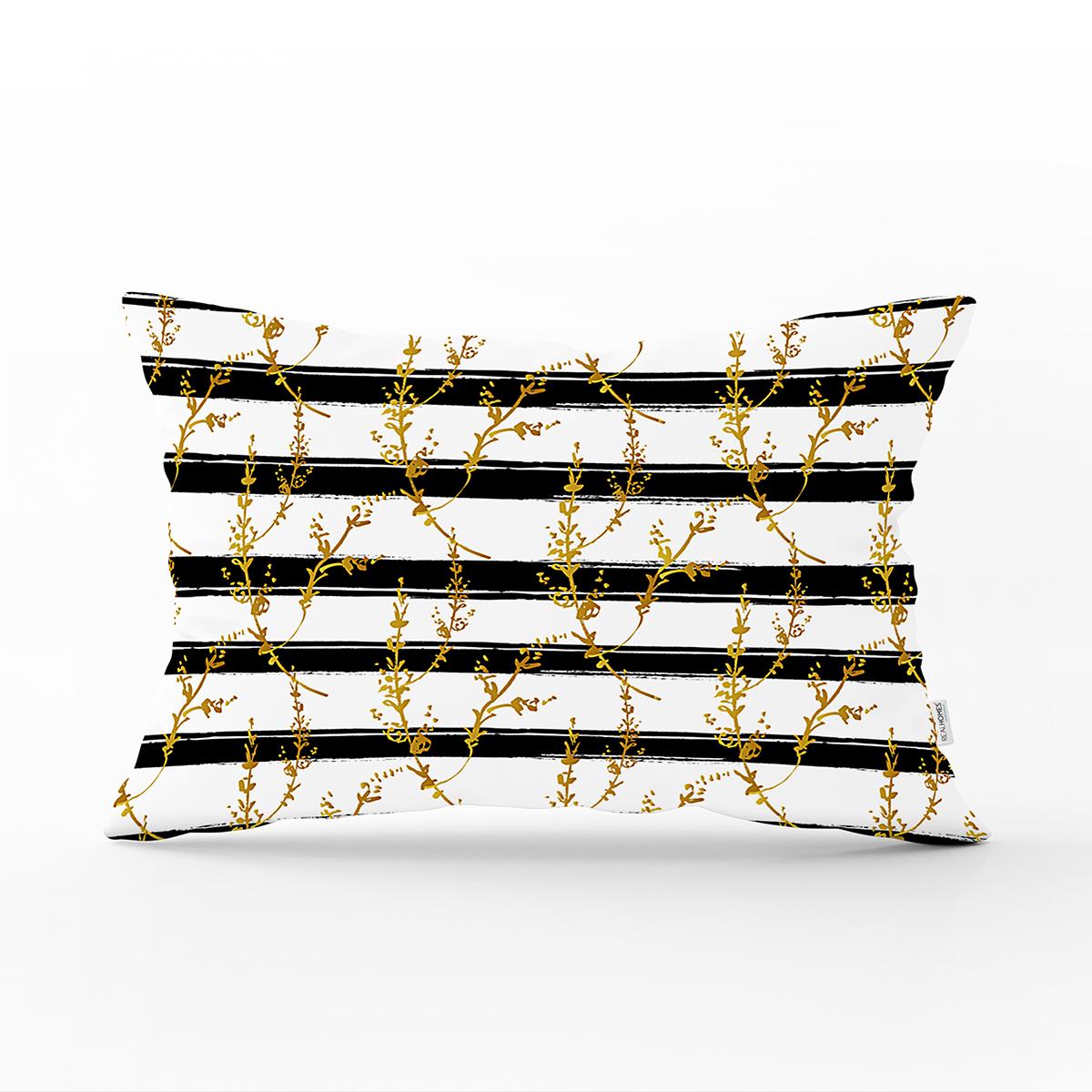Beyaz Zemin Üzerinde Siyah Çizgili Gold Detaylı Yaprak Desenli Dikdörtgen Kırlent Kılıfı Realhomes