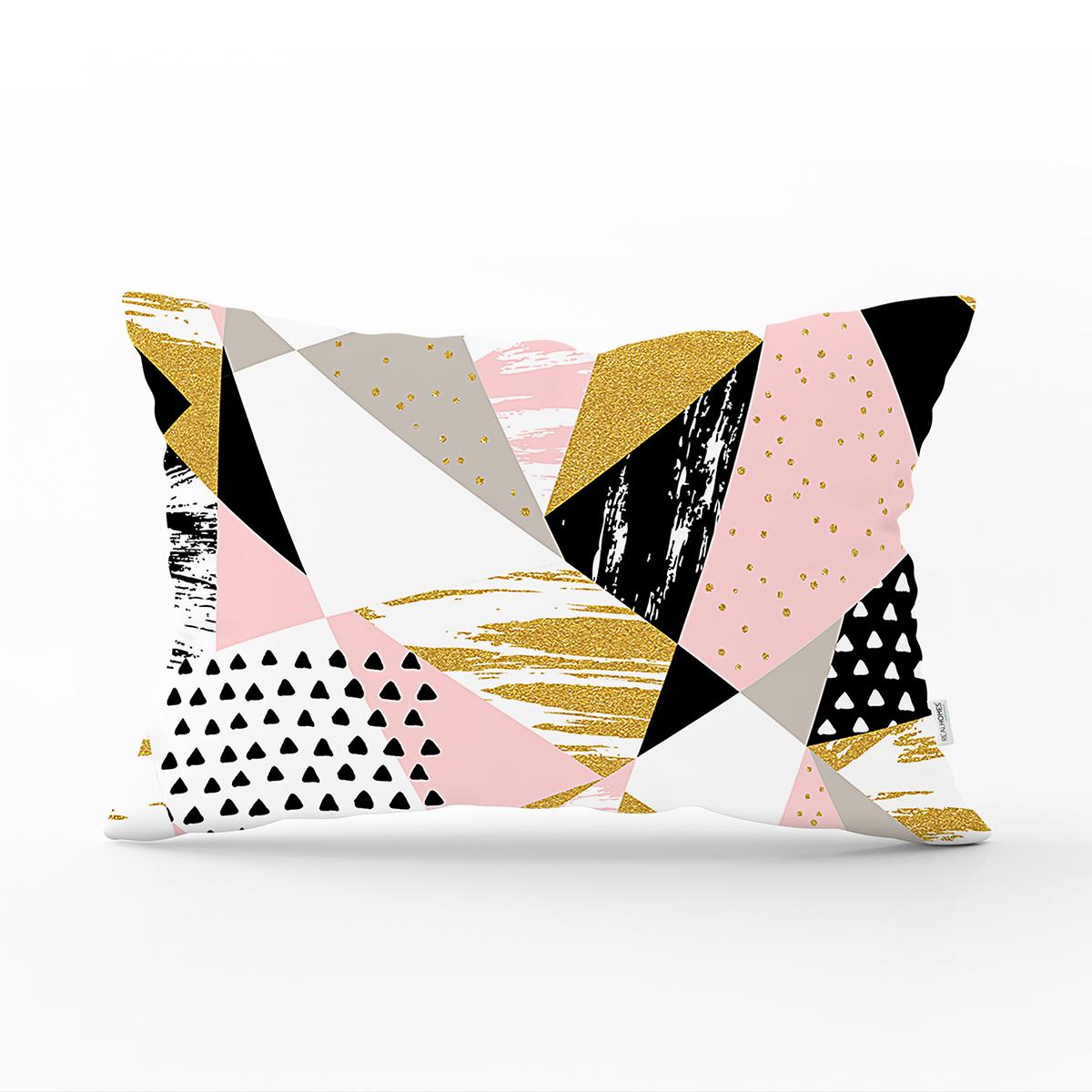 Beyaz Zemin Üzerinde Renkli Geometrik Desenli Dijital Baskılı Modern Dikdörtgen Yastık Kılıfı Realhomes