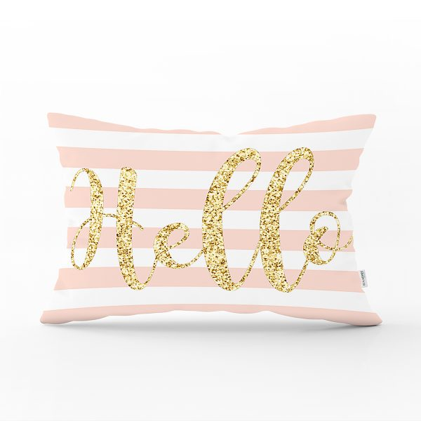 Beyaz Zemin Üzerinde Pembe Yatay Çizgili Gold Detaylı Hello Yazılı Dikdörtgen Yastık Kılıfı Realhomes