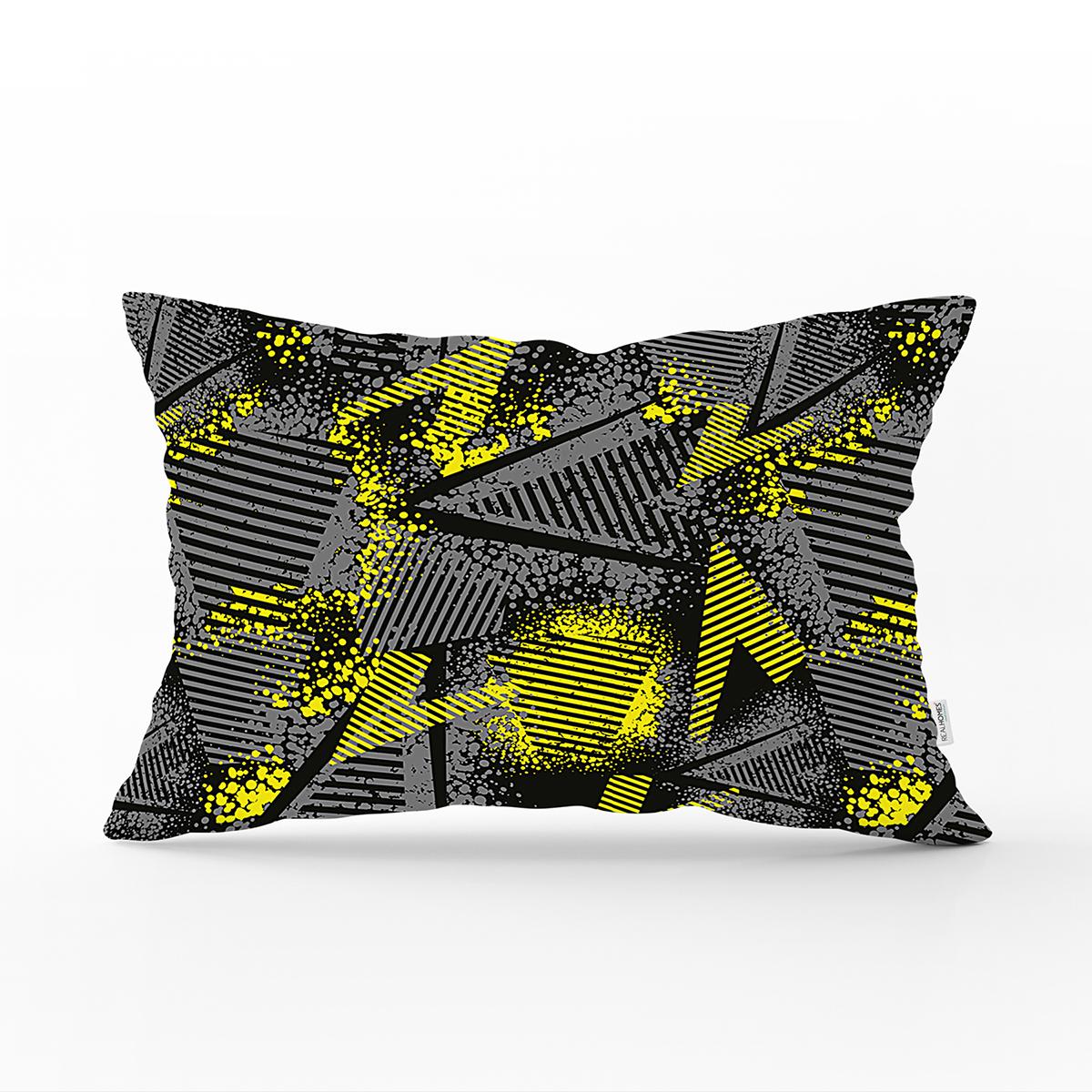 Siyah Zeminli Geometrik Desenli Dijital Baskılı Modern Dikdörtgen Yastık Kırlent Kılıfı Realhomes