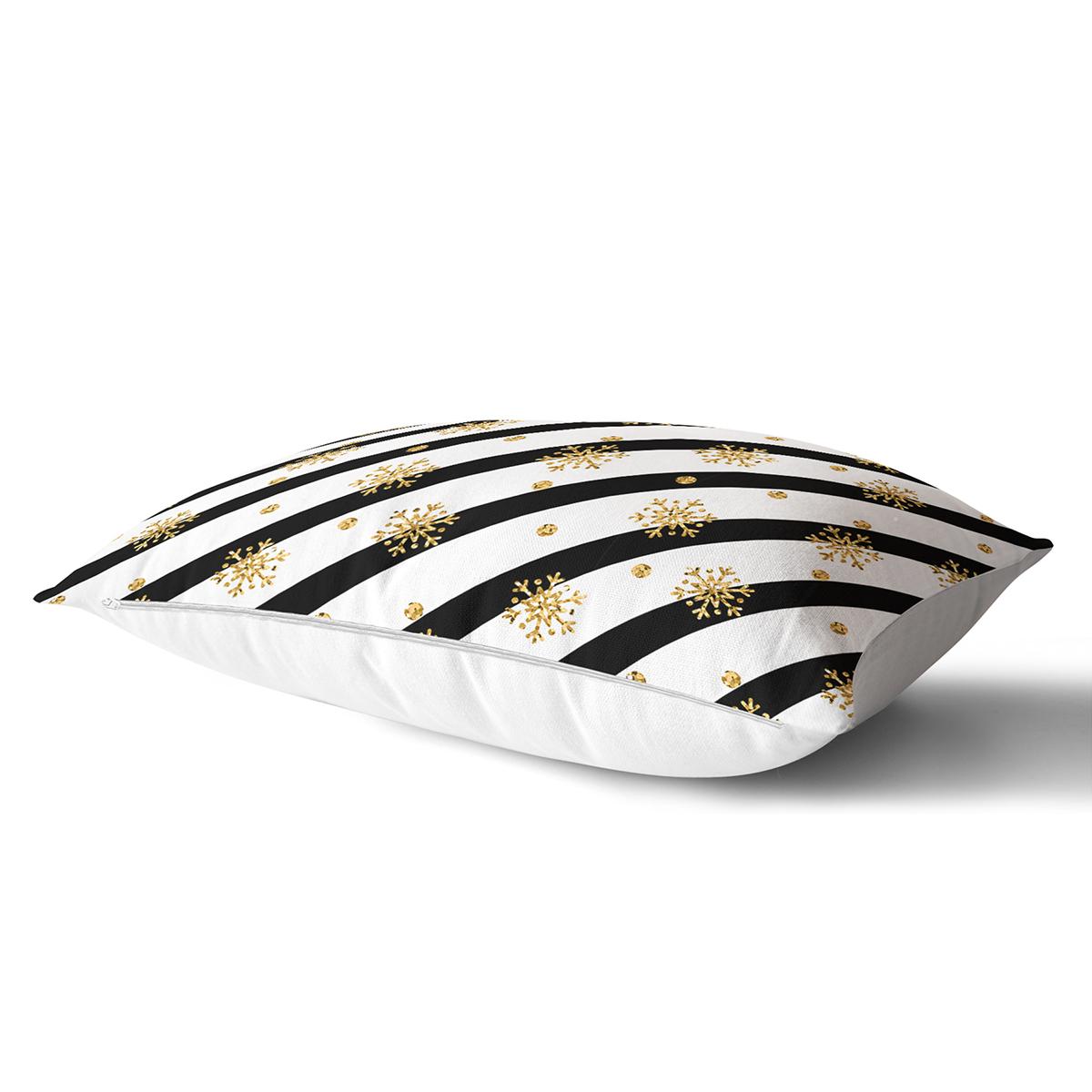 Beyaz Zemin Üzerinde Gold Detaylı Kartanesi Desenli Dikdörtgen Yastık Kırlent Kılıfı Realhomes