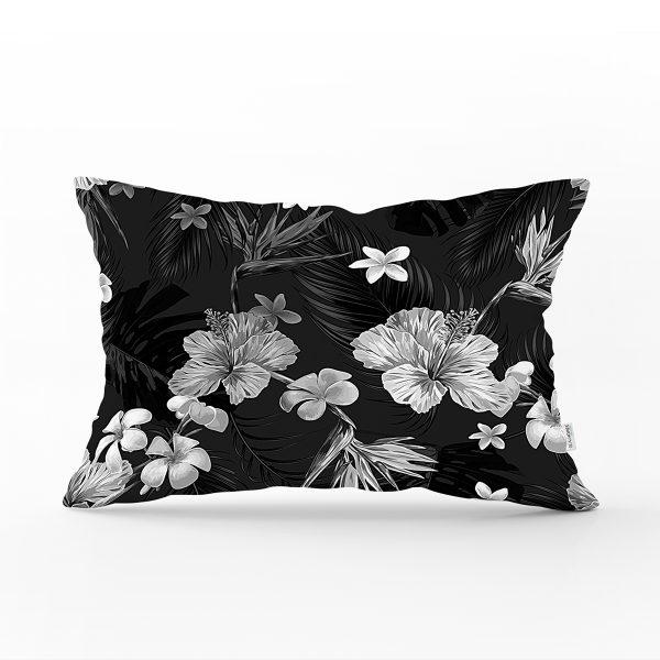 Siyah Zeminli Beyaz Çiçek Desenli Dijital Baskılı Modern Dikdörtgen Yastık Kırlent Kılıfı Realhomes