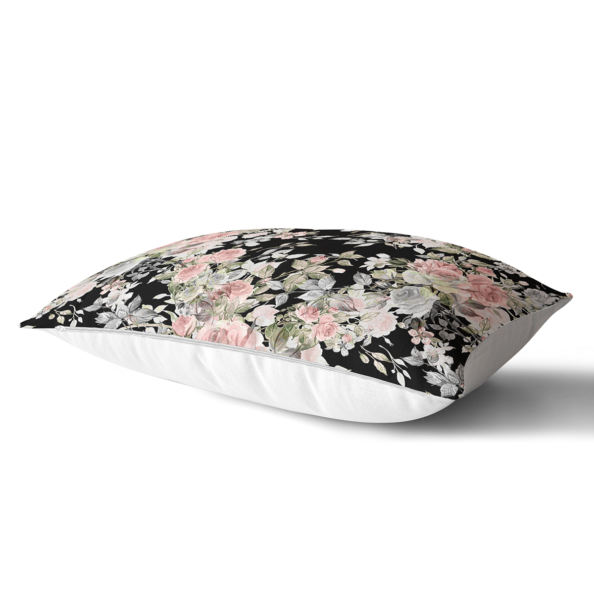 Renkli Zemin Üzerinde Çiçek Desenli Dijital Baskılı Modern Dikdörtgen Yastık Kırlent Kılıfı Realhomes