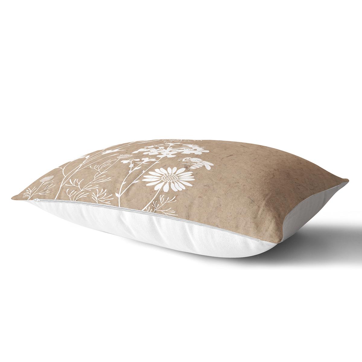 Renkli Zemin Üzerinde Beyaz Çiçek Desenli Dikdörtgen Yastık Kırlent Kılıfı Realhomes