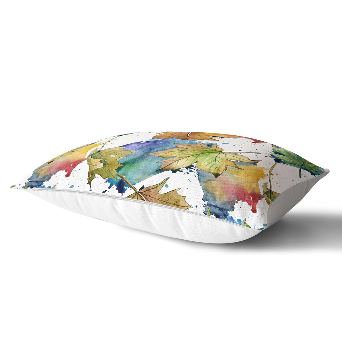 Beyaz Zeminli Sonbahar Yaprak Desenli Dijital Baskılı Modern Dikdörtgen Yastık Kırlent Kılıfı Realhomes