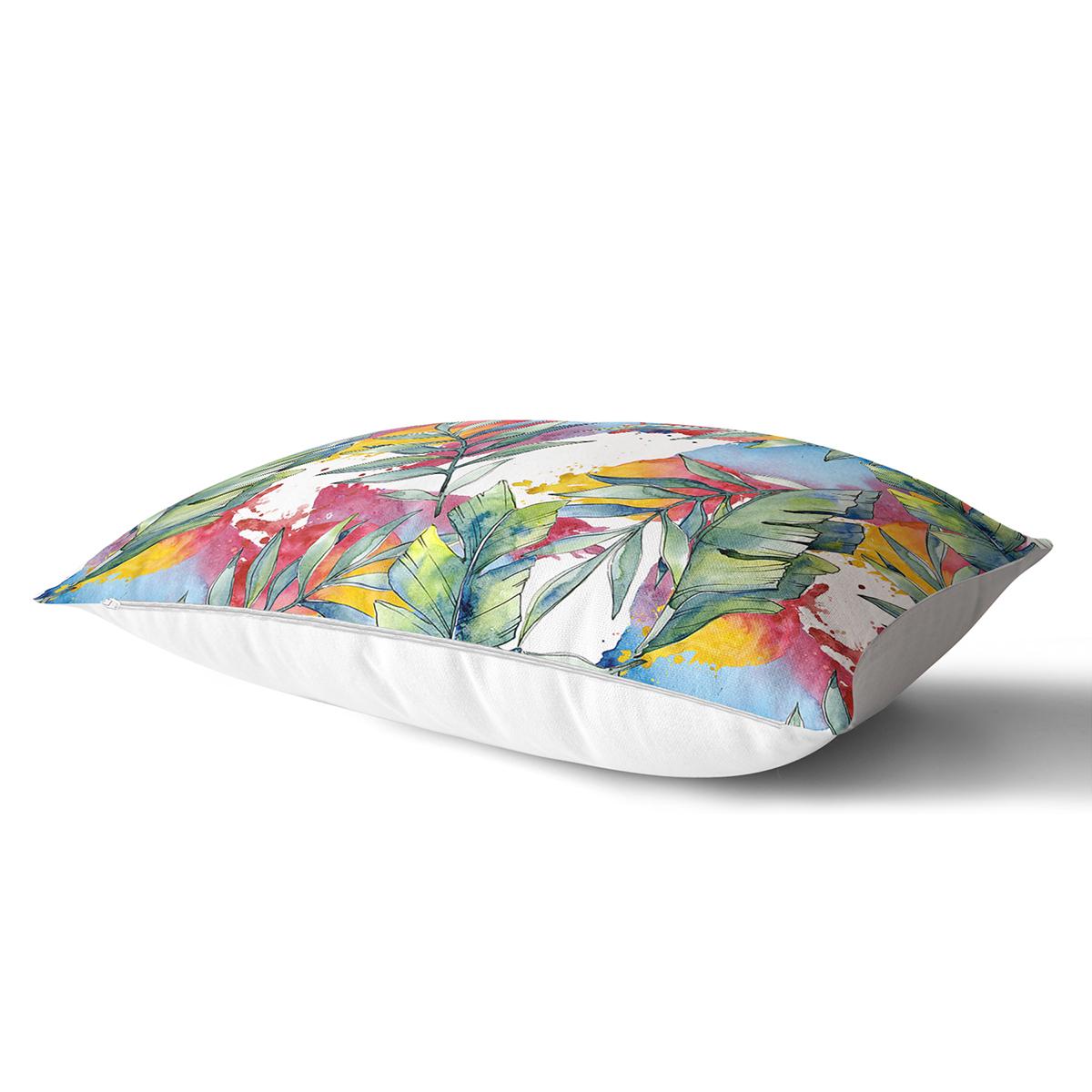 Beyaz Zemin Üzerinde Yaprak Desenli Dijital Baskılı Modern Dikdörtgen Yastık Kırlent Kılıfı Realhomes