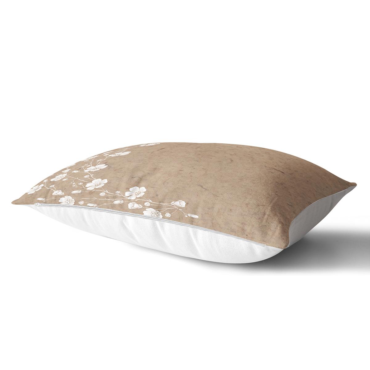 Pastel Zeminli Beyaz Yaprak Desenli Dijital Baskılı Modern Dikdörtgen Yastık Kırlent Kılıfı Realhomes