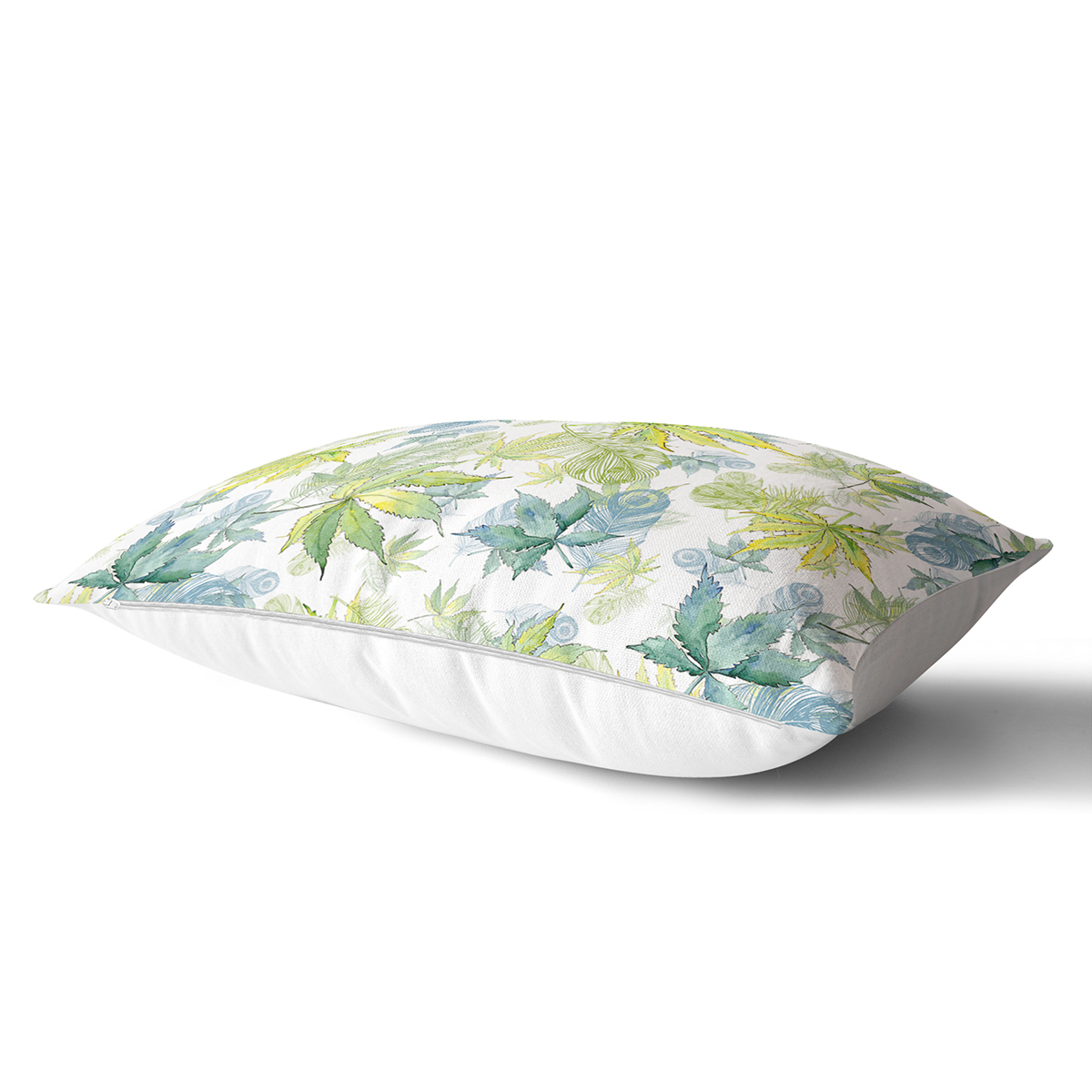 Beyaz Zemin Üzerinde Yeşil Renkli Yaprak Desenli Modern Dikdörtgen Yastık Kırlent Kılıfı Realhomes