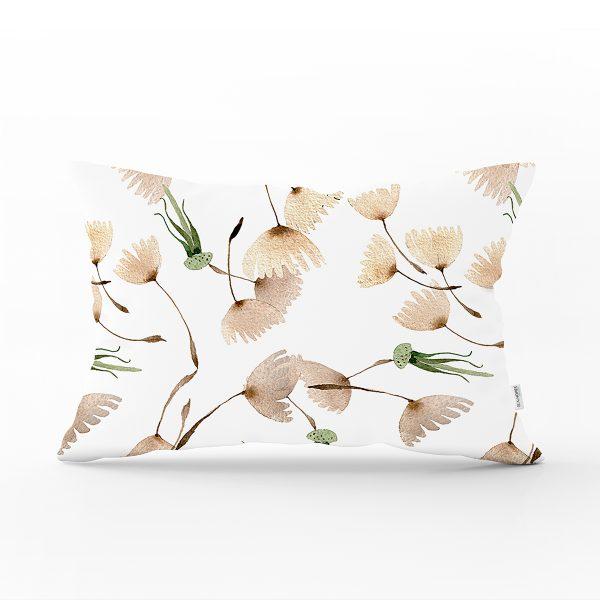 Beyaz Zemin Üzerinde Çiçek Desenli Dijital Baskılı Modern Dikdörtgen Yastık Kırlent Kılıfı Realhomes