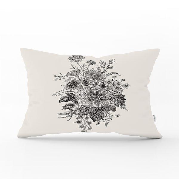 Pastel Zemin Üzerinde Çiçek Desenli Dijital Baskılı Modern Dikdörtgen Yastık Kırlent Kılıfı Realhomes
