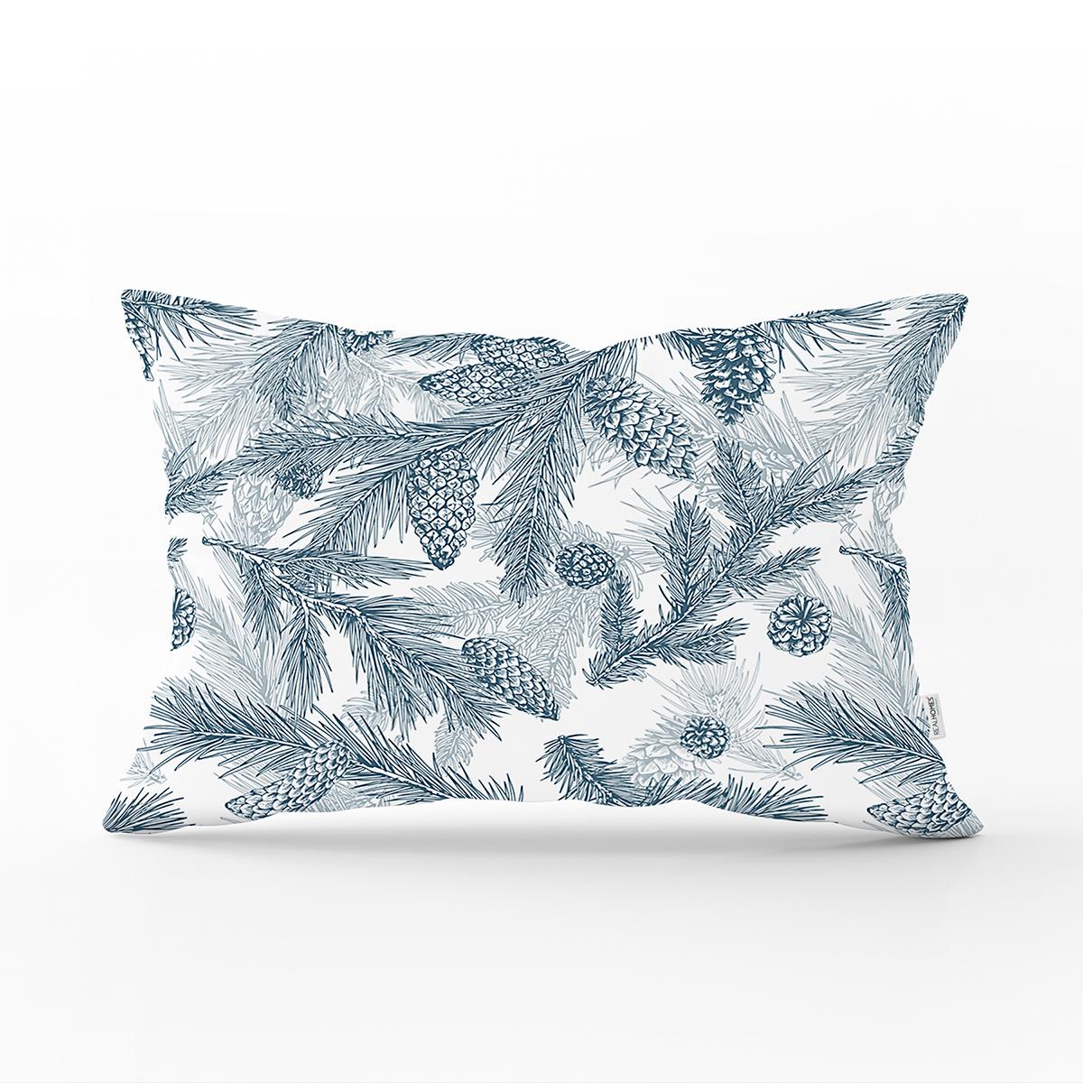 Beyaz Zemin Üzerinde Renkli Çam Yaprağı Desenli Modern Dikdörtgen Yastık Kırlent Kılıfı Realhomes