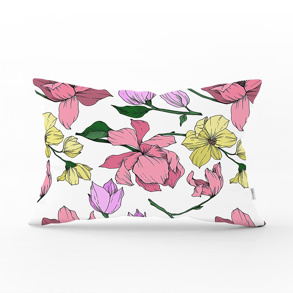 Beyaz Zemin Üzerinde Renkli Çiçek Desenli Dikdörtgen Yastık Kırlent Kılıfı Realhomes